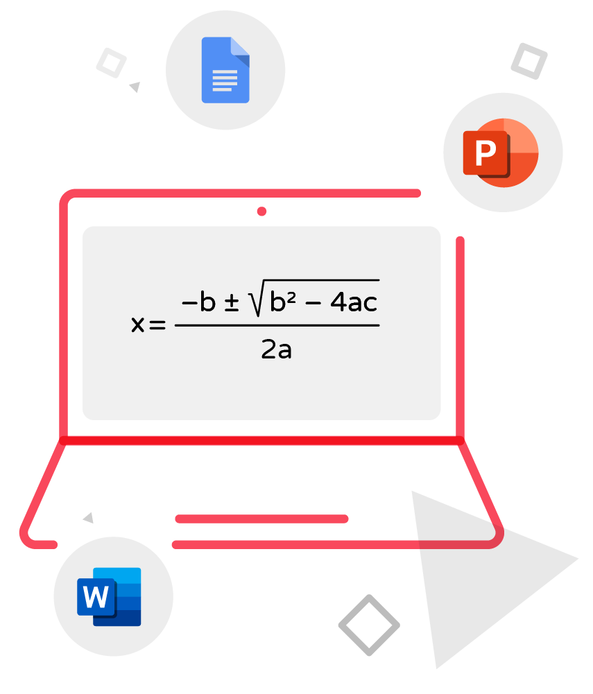 mathtype in computer screen illustration