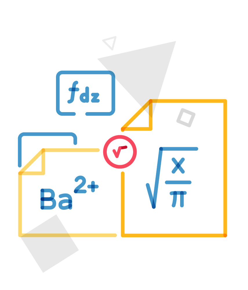 various documents with equations illustration